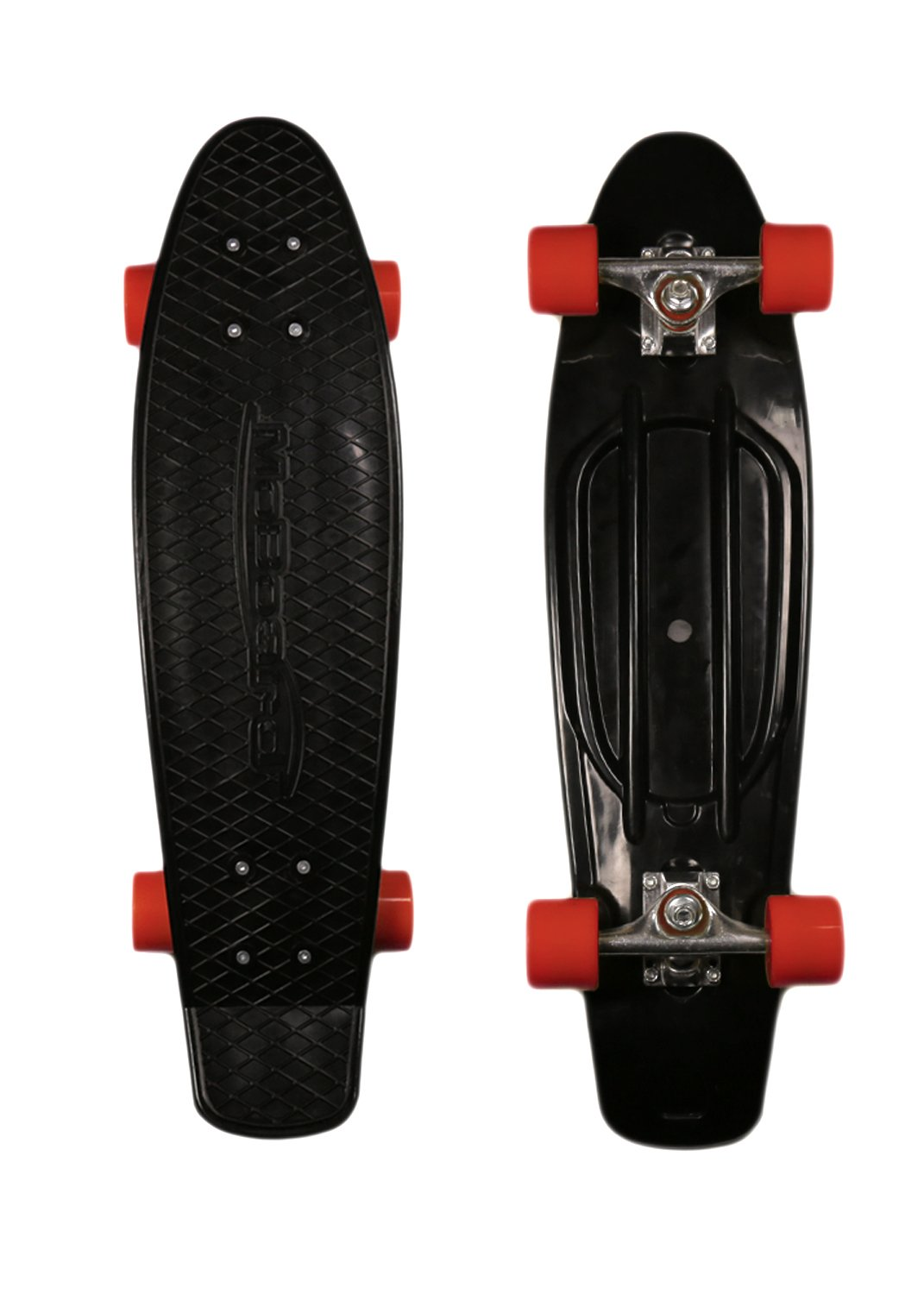 MoBoard 22'' Vintage Style Graphic Complete Skateboard, Black/Red