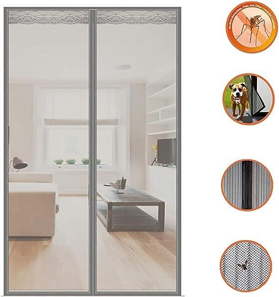 KEANCH Puerta de Pantalla magnética para Puertas francesas, Marco De Sellar Completo, para Puertas Correderas/Balcones/Terraza (Color : Gray, Tamaño : 110x230cm(43x91inch)): Amazon.es: Hogar