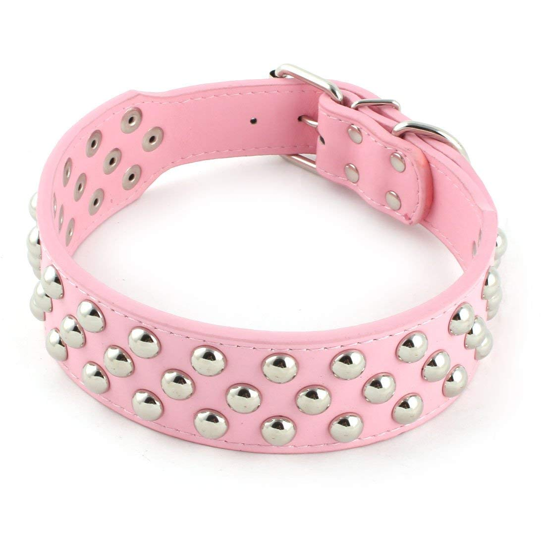 Metal Single Buckle 3 Rows Rivets Studded Dog Puppy Pet Collar M Size Pink