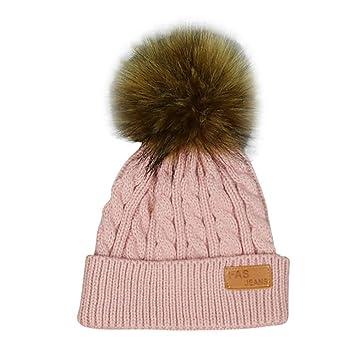 Newborn Baby Soft Fur Ball Knitted Turban Pom Hat Kids Winter Wild Beanie Cap