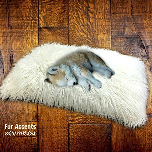 (DogNappers Brand - Plush Faux Fur Dog Bed - Cat Mat - Soft Padded Shaggy Pet Bed - Long Hair Mongolian Fur - Llama - 4 Colors (24''x30'', White) )