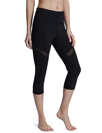0751dc53ef Baleaf Women's High Waist Out Pocket Mesh Yoga Pants Workout Active Capris  Leggings Tummy Control Black