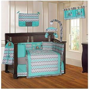 BabyFad Elephant Chevron Turquoise 10 Piece Baby Crib Bedding Set