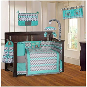 Amazon Com Babyfad Elephant Chevron Turquoise 10 Piece Baby Crib