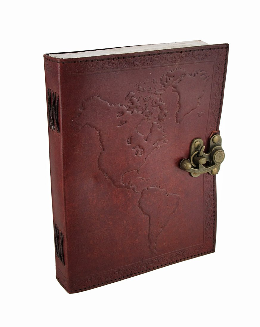 Map of the World Leather Embossed Journal