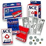 Ace Game Night Set -- Poker Playing Cards, Play Money, Poker Chips, Mini Dominoes and Casino Dice (Casino/Poker Party Supplies)