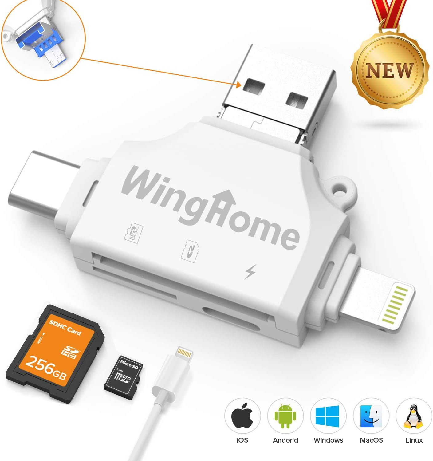 WingHome Trail Camera Card Viewer, 4-in-1 SD Card Reader for iPhone and Android, Micro SD/TF Card Adapter to View Game Camera Photos and Videos on Smart Devices