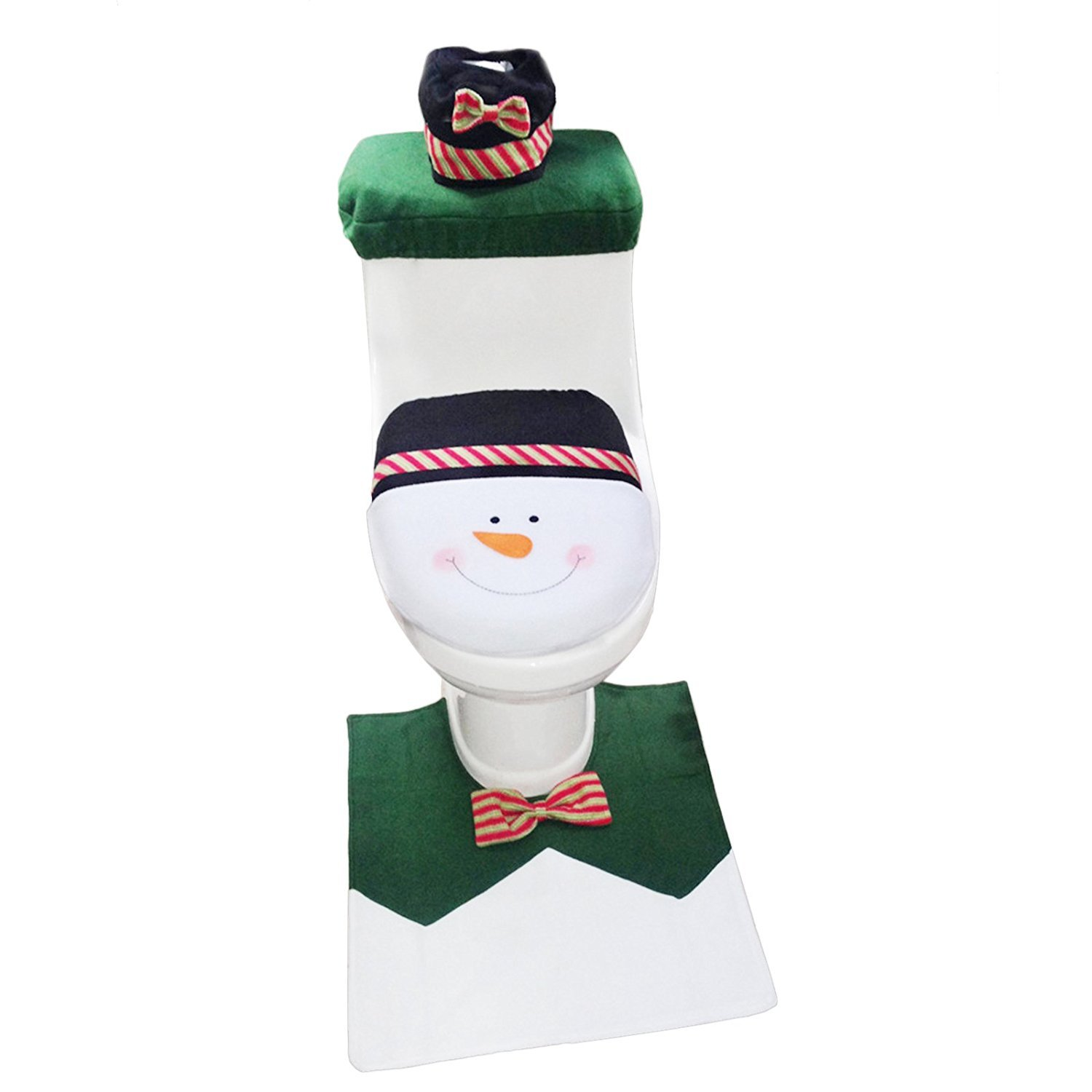 1 Set Snowman Toilet Seat Cover And Rug Bathroom Christmas Decoration Decor