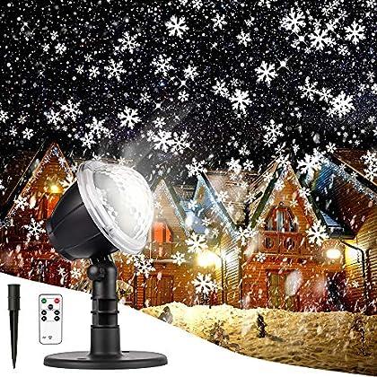 Christmas Projector Lights Outdoor LED Snowflake Christmas Lights with Remote Control, Outdoor Landscape Patio Garden…