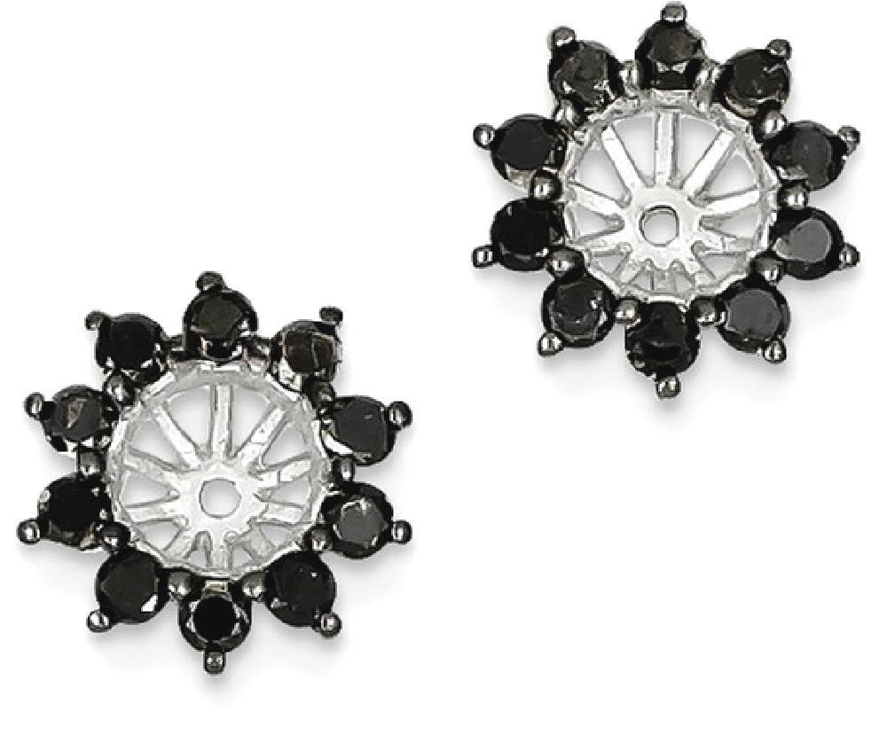 ICE CARATS 925 Sterling Silver Black Diamond Earrings Jacket