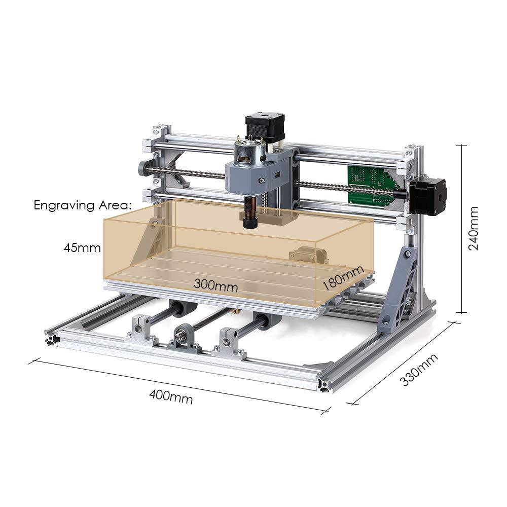 KKmoon DIY CNC Router Kit 2/en 1/mini l/áser grabado Grbl Control 3/ejes para PCB PVC pl/ástico acr/ílico escultura de madera Fresado Grabado M/áquina con ER11/Collet y gafas de protecci/ón