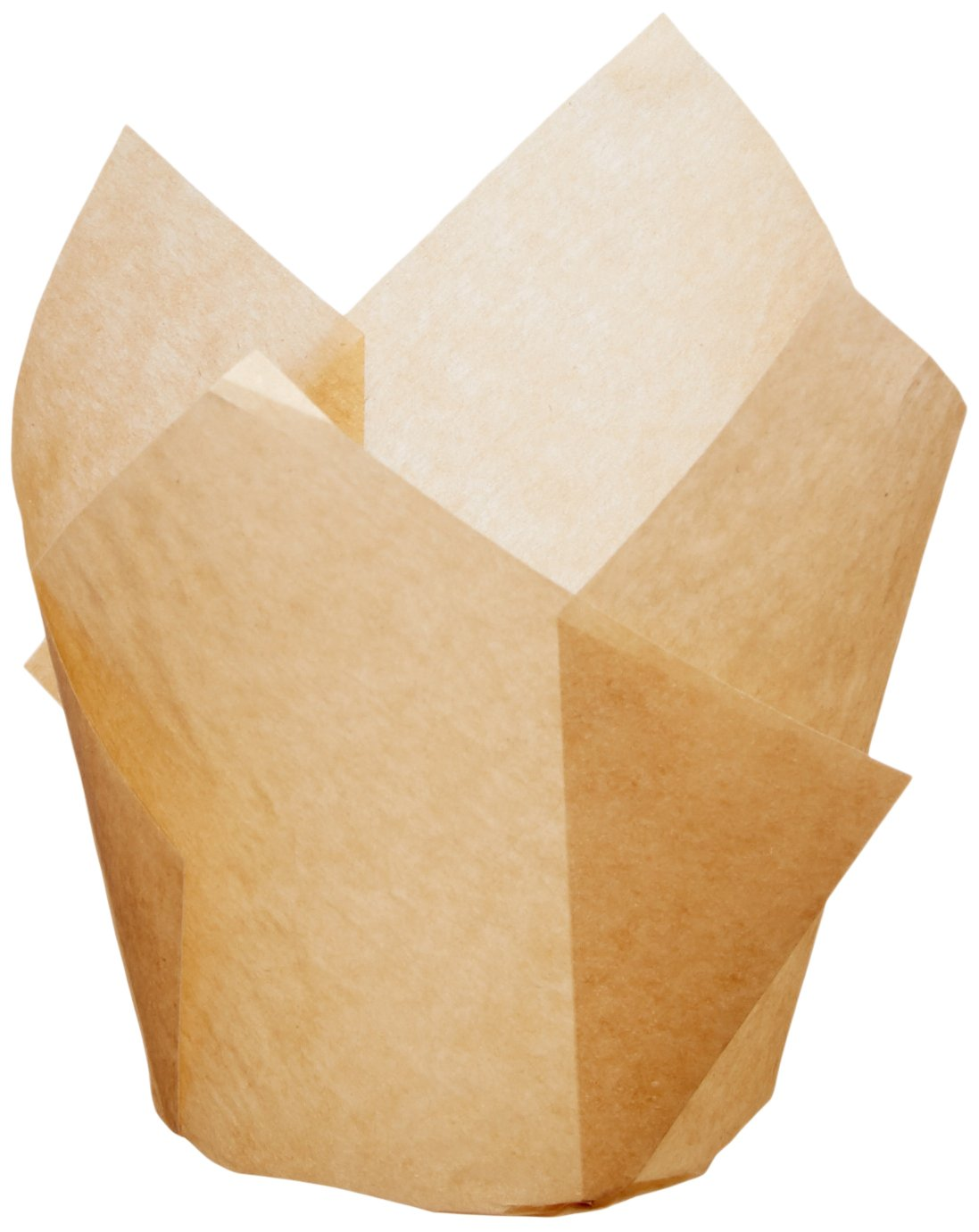 Hoffmaster 611120 Tulip Cup Cupcake Wrapper/Baking Cup, 2'' Diameter x 3-1/2'' Height, Small, Natural (4 Packs of 250)