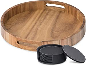 Round Serving Tray in Acacia Wood - 15.7 Inch Wooden Food, Tea & Coffee Serving Tray with Handles - Dinner Serving Trays for Eating - Large Breakfast, Ottoman & Coffee Table Tray + Leather Coasters