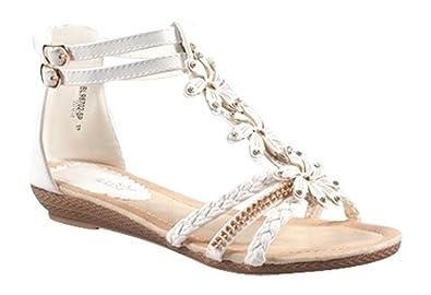King Of Shoes Sommer Damen Riemchen Keil Sandalen Keilabsatz Wedges Blumen Sandaletten Q1