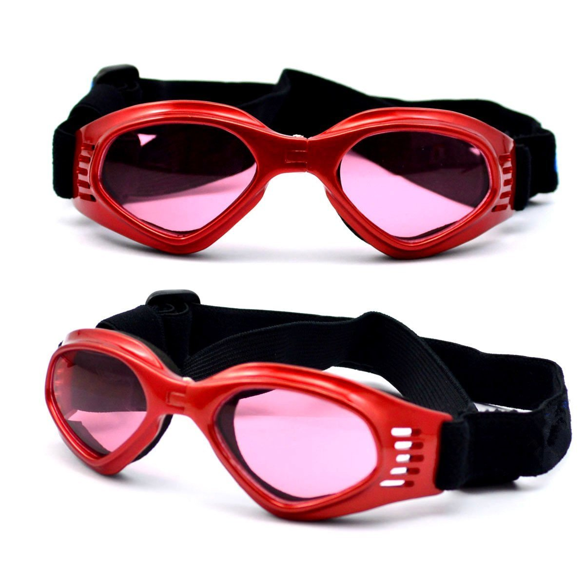 OxyPlay Dog Goggles Windproof Adorable Doggie Puppy Sunglasses for Small Dogs of Surfing, Motorcycle, Photograph … (Red) by OxyPlay (Image #2)