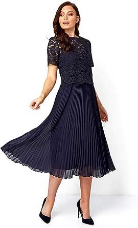 Roman Originals Vestido plisado de encaje superior para mujer, vestido de fiesta de noche, de algodón, para boda, fiesta, formal, madre de la novia, novio