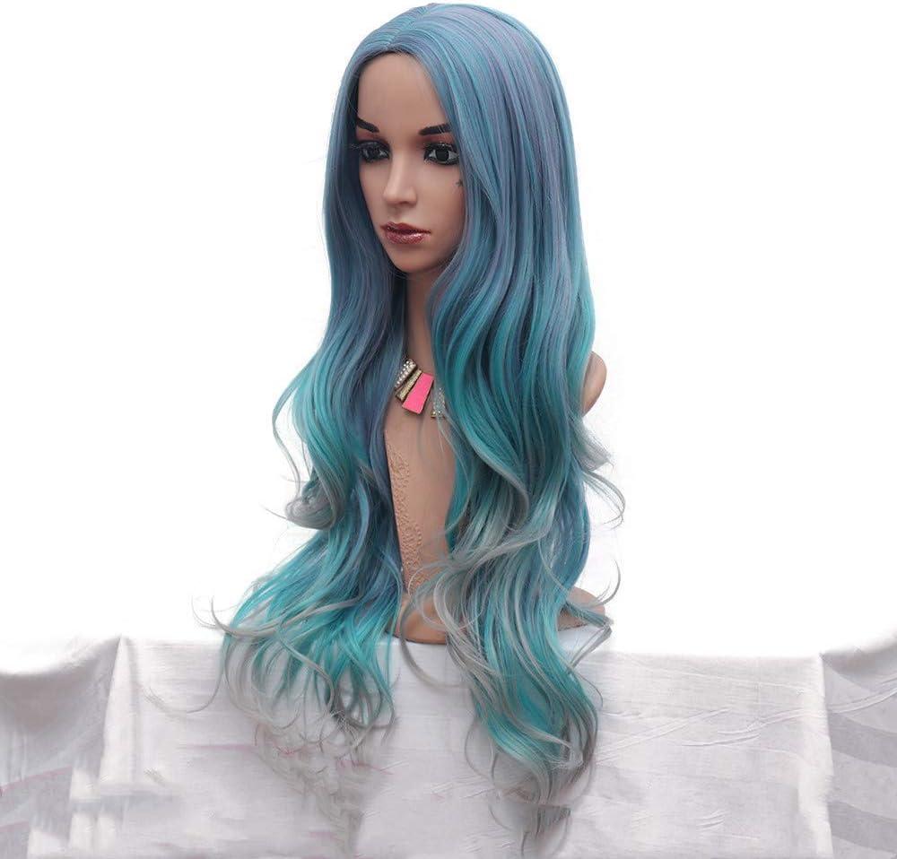 Coloreado Wig Mujeres Divididas En Grandes Ondas Azul Gris ...