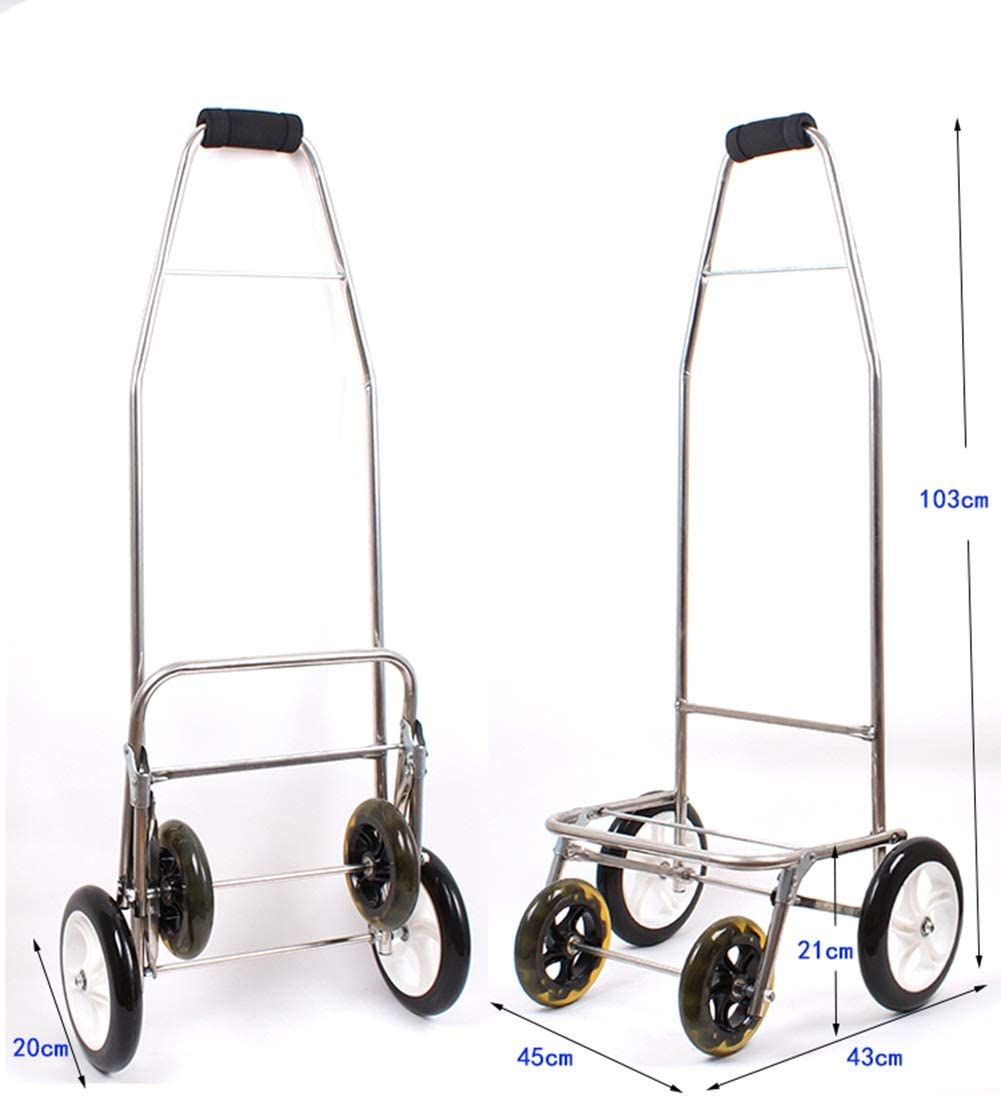 Wagons Shopping Trolley Non-Folding Stainless Steel Frame with Wheel Bearings Detachable Backpack 5 Colors Color : Red