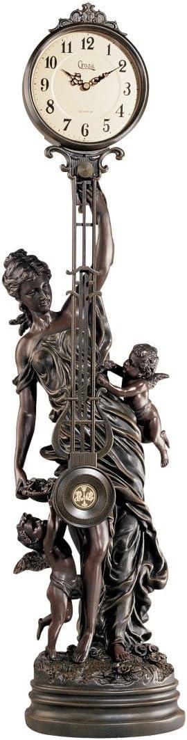 Design Toscano KY0221 Grand-Scale Flora Sculptural Swinging Pendulum Clock in Antique Faux Bronze,Verdigris