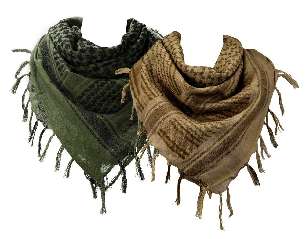 VOCHIC Cotton Military Scarf Shemagh Tactical Desert Keffiyeh Arab Wrap for Women Men 43''x43'' Pack of 2 by VOCHIC