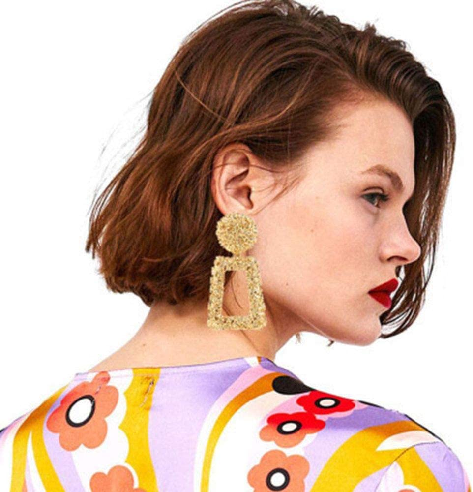 ASWEFV 3 Colors Exaggerated Metal Rectangular Dangle Earrings for Women Thick Drop Earrings Statement Jewellery