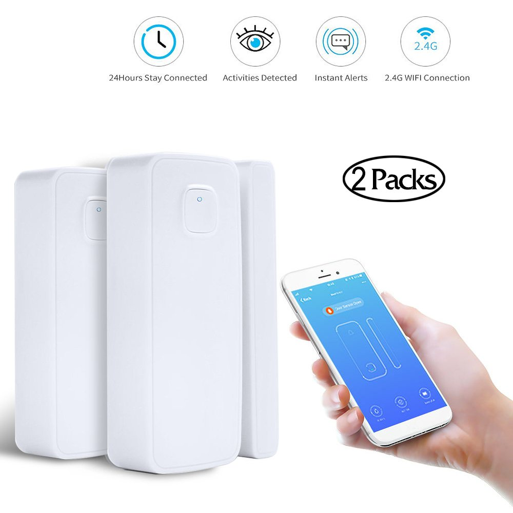 LAIKEUP WIFI Window/Door Sensor Wireless Remote Security Alarm Sensor Magnet Contact Sensor Compatible with Goggle Home/Amazon Alexa/IFTTT with Smart Life APP for Office Shop Home Alert System 2 Packs