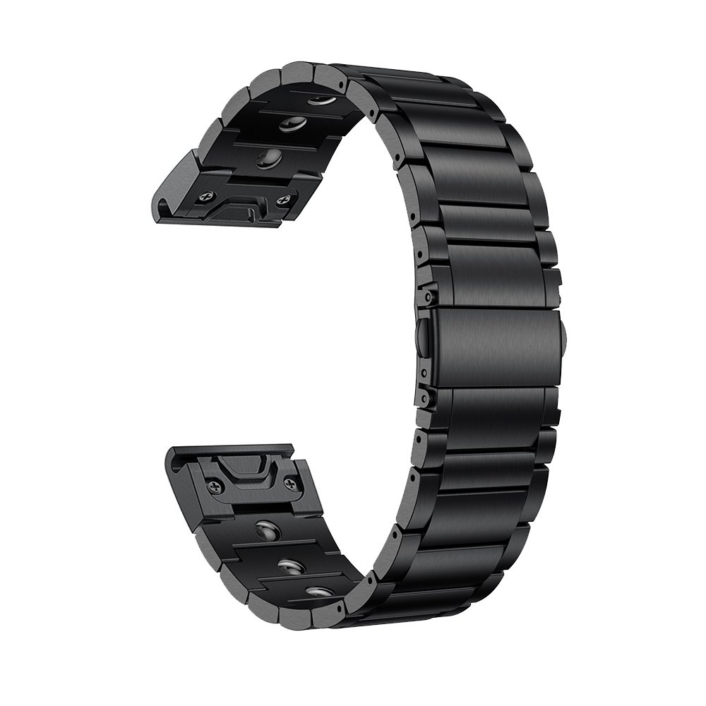 LDFAS Fenix 5X Band, Magnetic Therapy Quick Release Easy Fit 26mm Stainless Steel Metal Bands Compatible for Garmin Fenix 5X/5X Plus/3/3HR/Descent Mk1 Smartwatch, Black