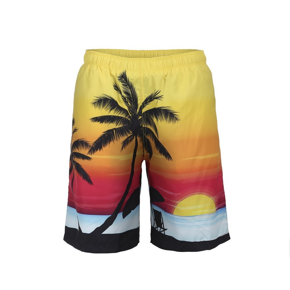 Men's Tropic Hawaii Palm Coconut Tree Summer Surfing Board Shorts Swim Trunks Cargo Shorts Quick Dry