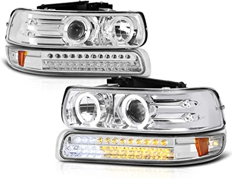 AUTOSAVER88 Chevrolet Silverado Tahoe Suburban Passenger And Driver Side Headlight Assembly for 1999-2002 Chevy Silverado 1500 2500//2001 2002 Chevy Silverado 1500HD 2500HD 3500//2000-2006 Tahoe Suburban 1500 2500 Headlamp with Bumper Lights