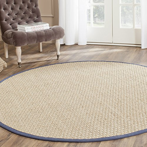 Safavieh Natural Fiber Collection NF114E Basketweave Natural and Blue Summer Seagrass Round Area Rug (6' Diameter)