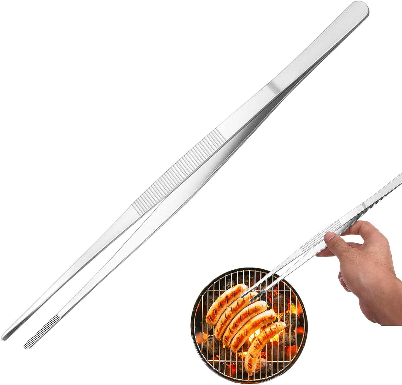 12 Inch Kitchen Tweezers,Premium Stainless Steel Tweezer Tong, Long Food Tweezer Tong with Precision Serrated Tips for Cooking,BBQ,Plants