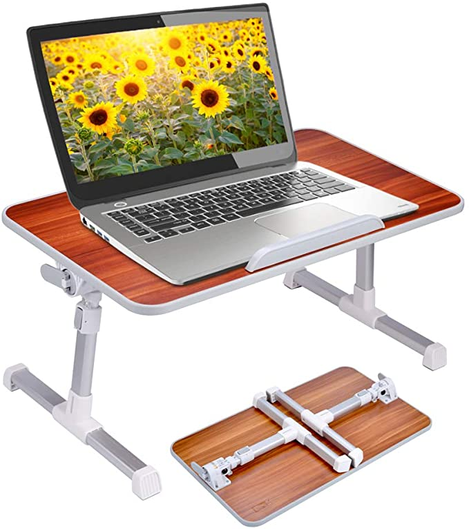 Foldable Laptop Bed Table Multifunctional Adjustable Bed Tray Desk with Adjustable Top and Cup Holder for Bed Working Breakfast Reading Burlywood
