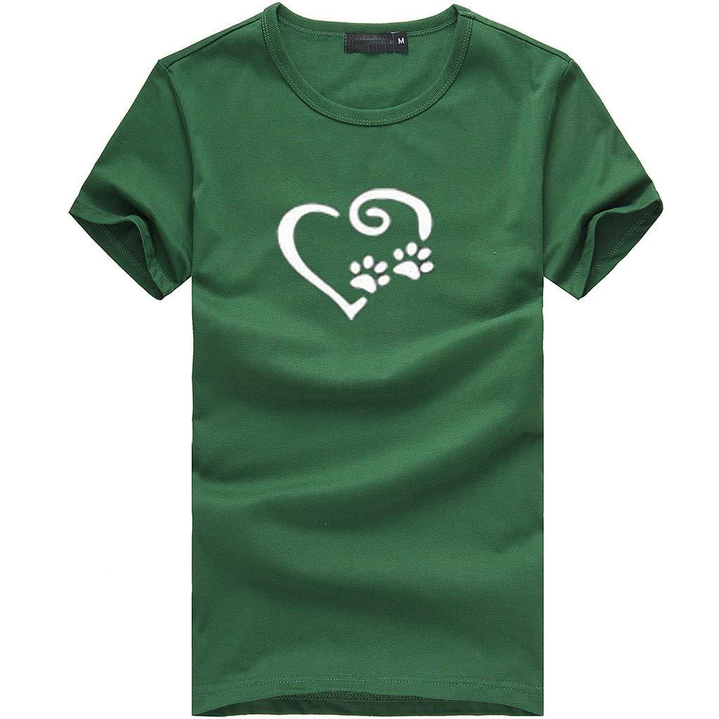 Gocheaper Fashion Women's Loose Short-Sleeved Print T-Shirt Casual O-Neck Top(Green,XXXL)