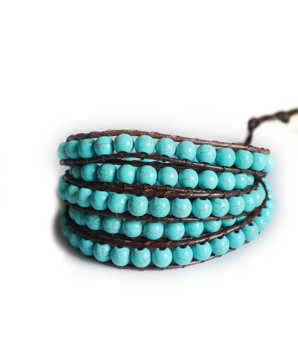 Brown Genuine Leather Wrap Turquoise Aqua Beaded Wrap 23 or 34 Inch Small Large Bracelet Fashion Bohemian Boho Style Jewelry (23 Inches) (23 Inches)