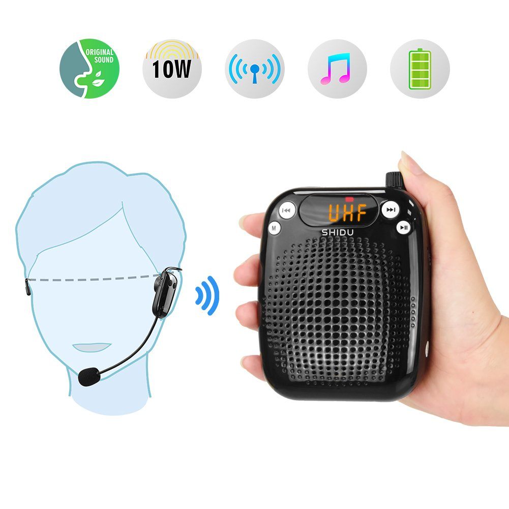 Portable Voice Amplifier Wireless 10W,SHIDU Personal Voice Amplifier Rechargeable PA System with UHF Wireless Microphone Headset for Teachers,Singing,Tour Guides,Classroom,Outdoors,Coaches,Elderly