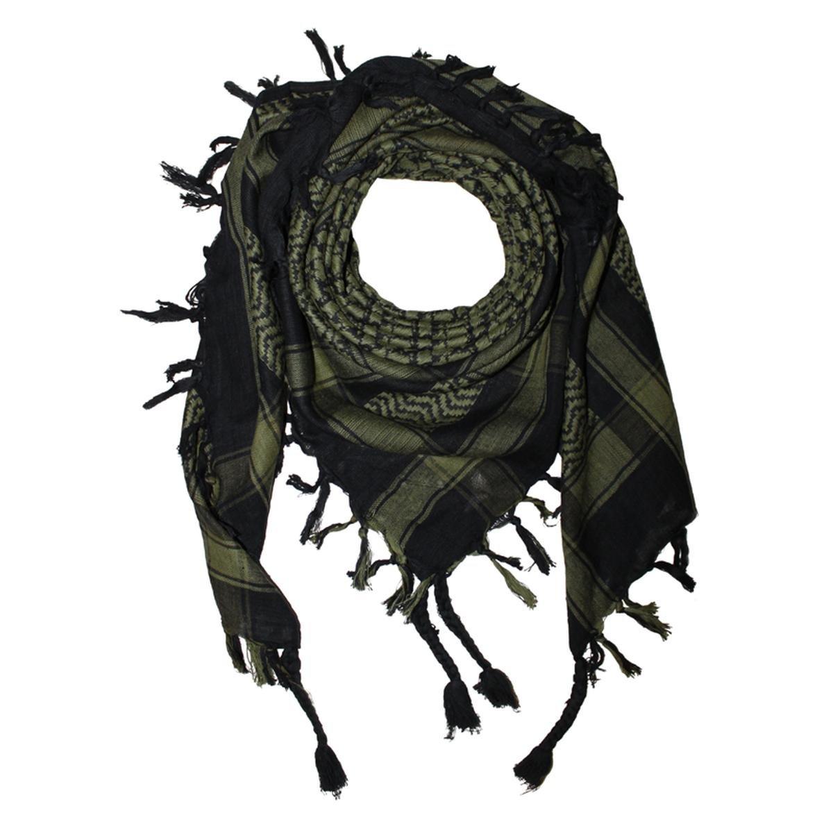 Freak Scene Foulard kefiah palestinese 100% cotone con fondo nero 100x100 cm – nero/verde-oliva