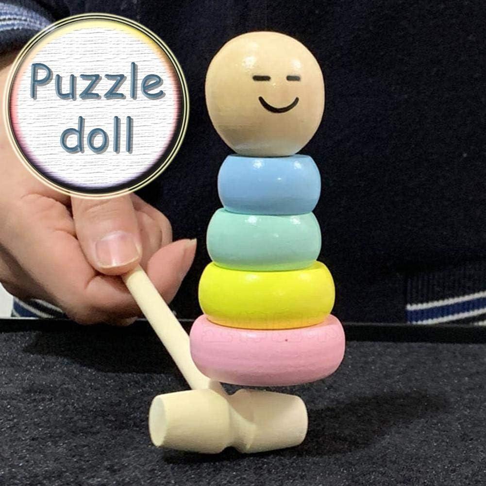 PITCHBLA Pequeño muñeco de marioneta sonriente Nuevo juguete mágico extraño Pequeño hombre de madera Juguete divertido de Halloween para niños Juego de artesanía popular Juguete mágico irrompible