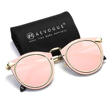 525d8db771fb8 AEVOGUE Sunglasses For Women Cat Eye Metal Frame Flat Lens Classic Arrows  Glasses AE0505 (Pink