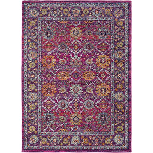 Acadia Teal, Saffron and Garnet Updated Traditional Area Rug 5'3
