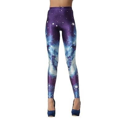 AHATECH Femme Legging Sport Fitness Pantalon Élastique Collant Imprimé Galaxy