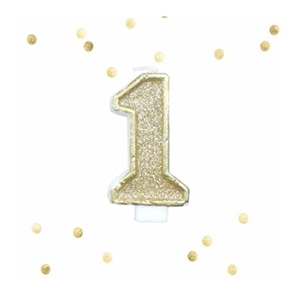 Amazon Light Gold Glitter 1st Birthday Candle Number 1 Cake