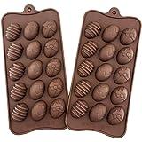 2 moldes de silicona para huevos de Pascua, chocolate, caramelos, galletas de Pascua
