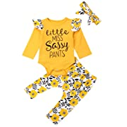 Emmababy Newborn Girls Clothes Baby Romper Outfit Pants Set Long Sleeve Toddler Infant Summer Clothing (Little Miss Sassy Pants, 12-18Months)