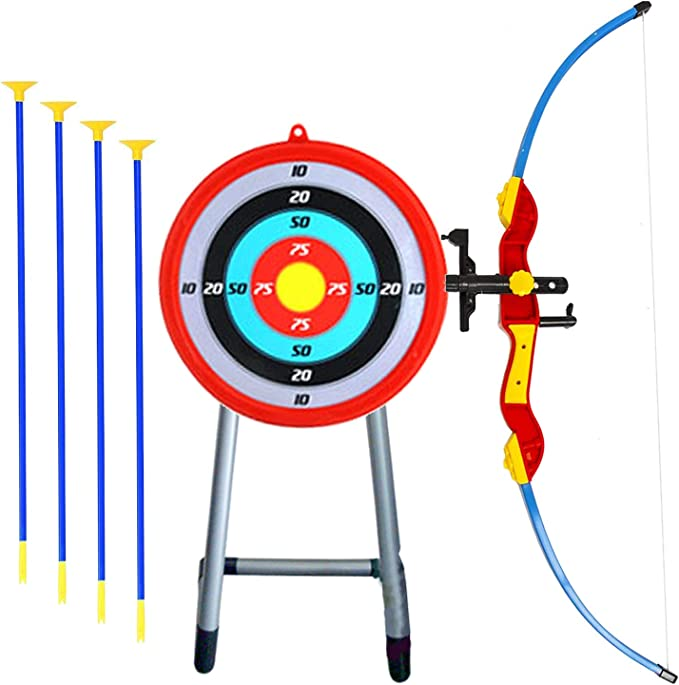 """Quiver Toy 32/"""" Toy Archery Bow and Arrow Set for Kids Four Suction Cup Arrows"""