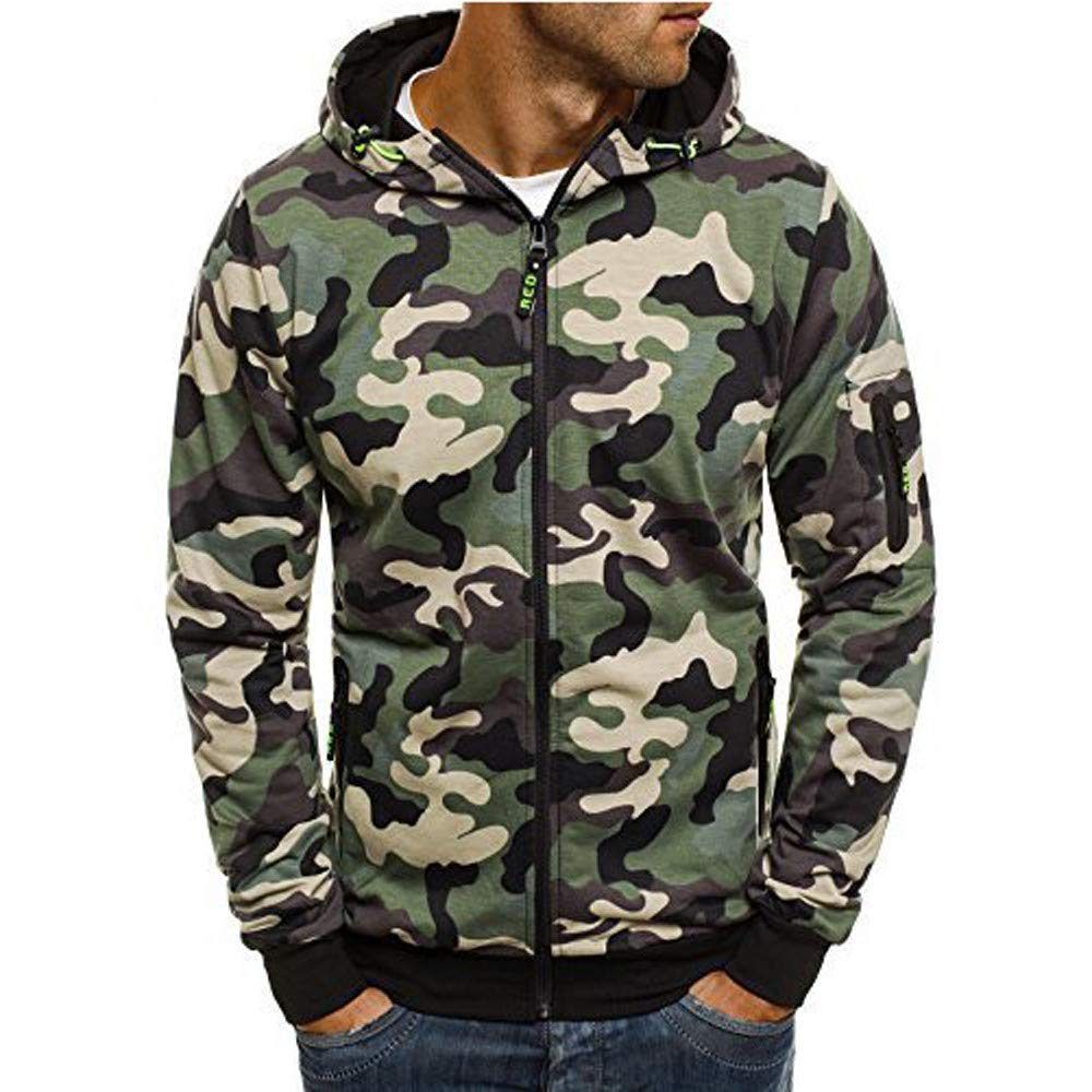 Corriee Fashion Tops for Men 2018 Cool Camouflage Zip Hooded Sweatshirts Mens Autumn Pullover Casual Go Out Hoodies by Corriee Men Hoodies (Image #1)