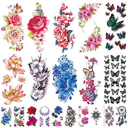 20 Sheets Flowers Temporary Tattoos Stickers, Roses, Butterflies and Multi-Colored Mixed Style Body Art Temporary Tattoos for Women, Girls or Kids