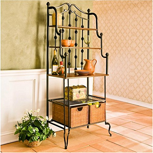 Beautiful Bakers Rack with Steel Frame and Wicker Drawers...