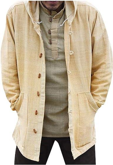 Cárdigan para Hombre Estilo Étnico Camisa Casual Suelta De Manga Larga Abrigo con Capucha Blusa Tops Chaqueta Vaquera Negra: Amazon.es: Ropa y accesorios