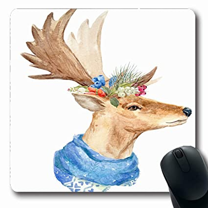 134d2c76f Ahawoso Mousepads for Computers Profile Abstract Watercolor Christmas Deer  Wreath Wildlife Tree Antlers Nature Ball Berry
