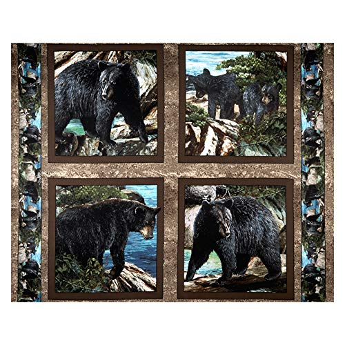 Springs Creative Products Wild Wings Bear Essence Bear Pillow 36'' Panel Fabric, Black